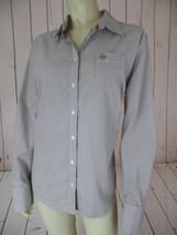 Tommy Hilfiger Shirt Blouse Xl Brown White Thin Pinstripe Cotton Casual Chic! - $44.55