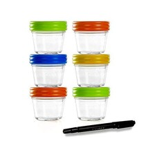 Glass Containers for Baby Food Storage Set Contains 6 Small Reusable 4oz Jars wi
