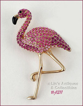 EISENBERG ICE PINK RHINESTONES FLAMINGO PIN WITH GOLD TONE LEGS (Inv. #J... - $100.00