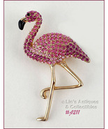 Eisenberg Ice Flamingo Pin Pink Rhinestones with Gold Tone Legs (Inv. #J... - $100.00