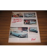 1953 Print Ad '53 Fords 4-Door & Station Wagon Blue 50's Gas Station & Pumps - $20.51