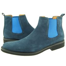 Blue Color Suede Leather Chelsea Jumper Slip Ons Party Wear Black Sole M... - $149.90+