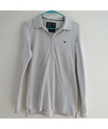 American Eagle Outfitters Womens Top Blouse Shirt Size L Solid Gray Coll... - $9.49