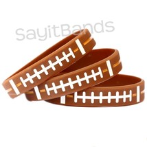 Set of FOOTBALL Thread Silicone Wristbands - Wholesale Wrist Band Bracel... - $1.48+