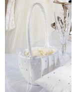 White or Ivory Swarovski Crystal Pearl Wedding Guest Book Ring Pillow Ba... - €123,54 EUR