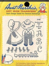 Sunbonnet Sue & Overall Bill Aunt Martha's Hot Iron Transfers #3795  - $3.95