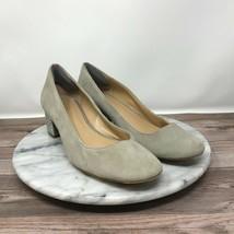 Michael Kors Arabella Womens Size 8 Beige Suede Rhinestone Block Heel Pumps - $49.95