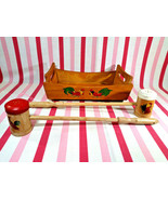 Darling Vintage 3pc Rooster Graphic Tray & Long Handle Salt & Pepper BBQ... - $18.00