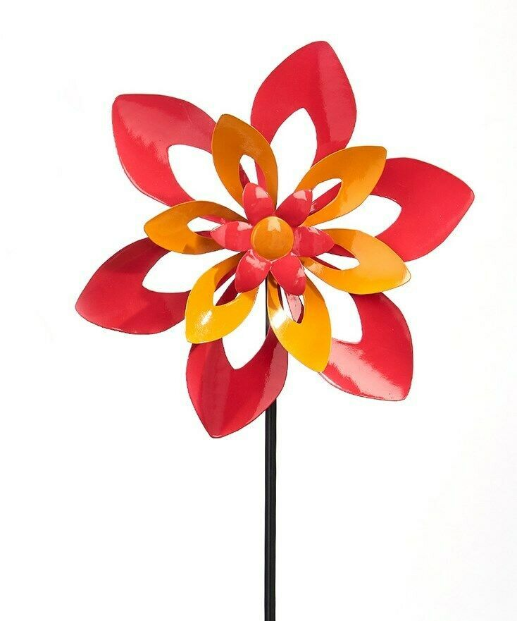 "36"" Flower Metal Wind Spinner Garden Stake Double Pronged Calypso Color"