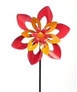 """36"""" Flower Metal Wind Spinner Garden Stake Double Pronged Calypso Color - $54.44"""