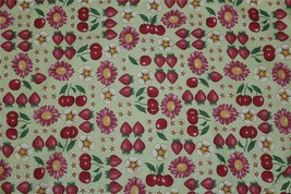 Daisy Kingdom Gerberries Fruit Flowers Green Cotton Fabric Bty Oop Early 2000's - $13.99