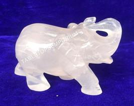 "3"" Crystal Rose Quartz Elephant Salute Pose Sculpture Best Good Luck Gif... - $204.00"