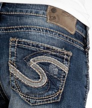 SILVER Jeans Sale Low Rise Tuesday Destructed Denim Stretch Jean Mid Sho... - $33.33