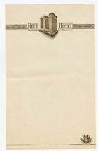Rice Hotel Sheet of Stationery Houston Texas 1940's - $21.78