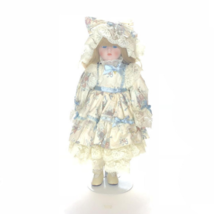 Collectible Porcelain Girl Doll Blue White Dress Long Brown Hair White S... - $24.75