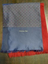 Christian Dior Logo Scarf Reversible Burgundy  Navy Gold Design - $33.66