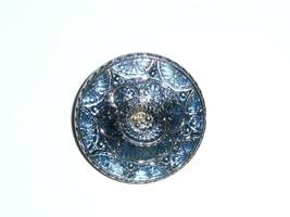 "Beautiful Large Blue w/ Silver Lacy Czech Glass Shank Button  1-1/4"" Blu... - $8.41"