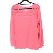 Lane Bryant Womens Sz 14 / 16 Crochet Lace Yoke Long Sleeve Knit Top Pink Gauzy - $23.36