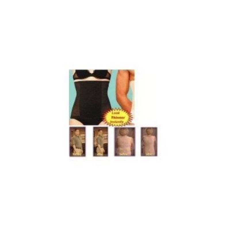 2x Invisible Tummy Trimmer 1blk 1nude Stomach Control Girdle Slim Waist Trainer