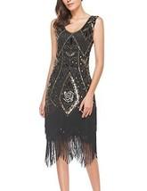 Women's Roaring 20s V-Neck Gatsby Dresses- Vintage Inpired Sequin beaded... - $45.77