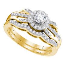 10k Yellow Gold Diamond Round Bridal Wedding Engagement Ring Band Set 1/2 Ctw - $760.00