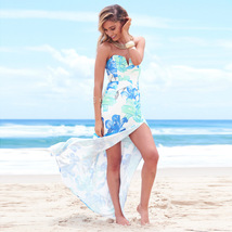 2017 Sexy Women Strapless Maxi Dress Floral Print Dress Color Block Back... - $23.00