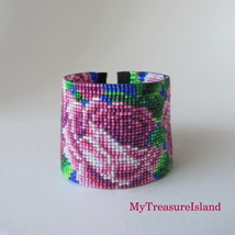 Roses Bead Loom Bracelet 3D Roses Floral Beaded Wide Cuff Adjustable Bra... - $70.00