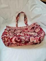 Quilted Bag  Paisley  Red  Pink Vera Bradley Snap Top Zipper Inside Shou... - £15.02 GBP