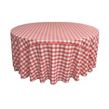 LA Linen Poly Checkered Round Tablecloth, 108-Inch, Coral/White - $36.73