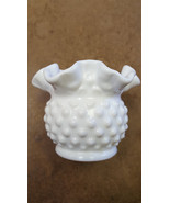 Vintage, 1960's, Fenton Hobnail Small Milk Glass Rose Bowl Vase with ruf... - $18.99