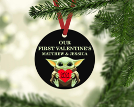 BABY YODA OUR FIRST VALENTINE'S PERSONALIZED  NAME HEART 2021 GIFT TAG O... - $9.85