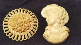 Vintage Ivory Color Celluloid Cameo & Rose Decorative Jewelry Components... - $15.85