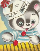 Vintage Birthday Card Panda Bear Plays Xylophone Glitter 7 Years Old  Vo... - $9.89