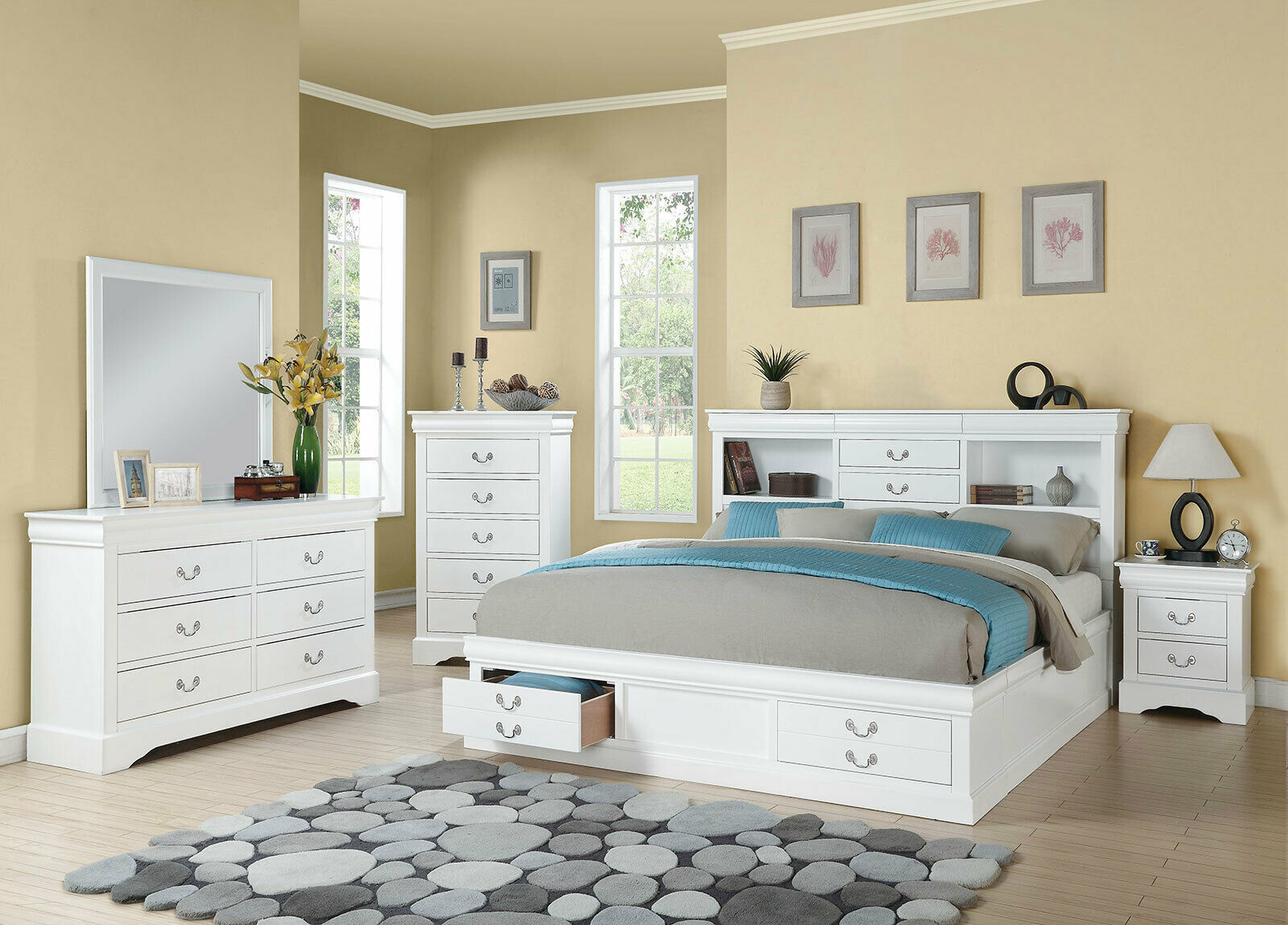 Traditional white wood bedroom furniture 5pcs king size - Traditional white bedroom furniture ...