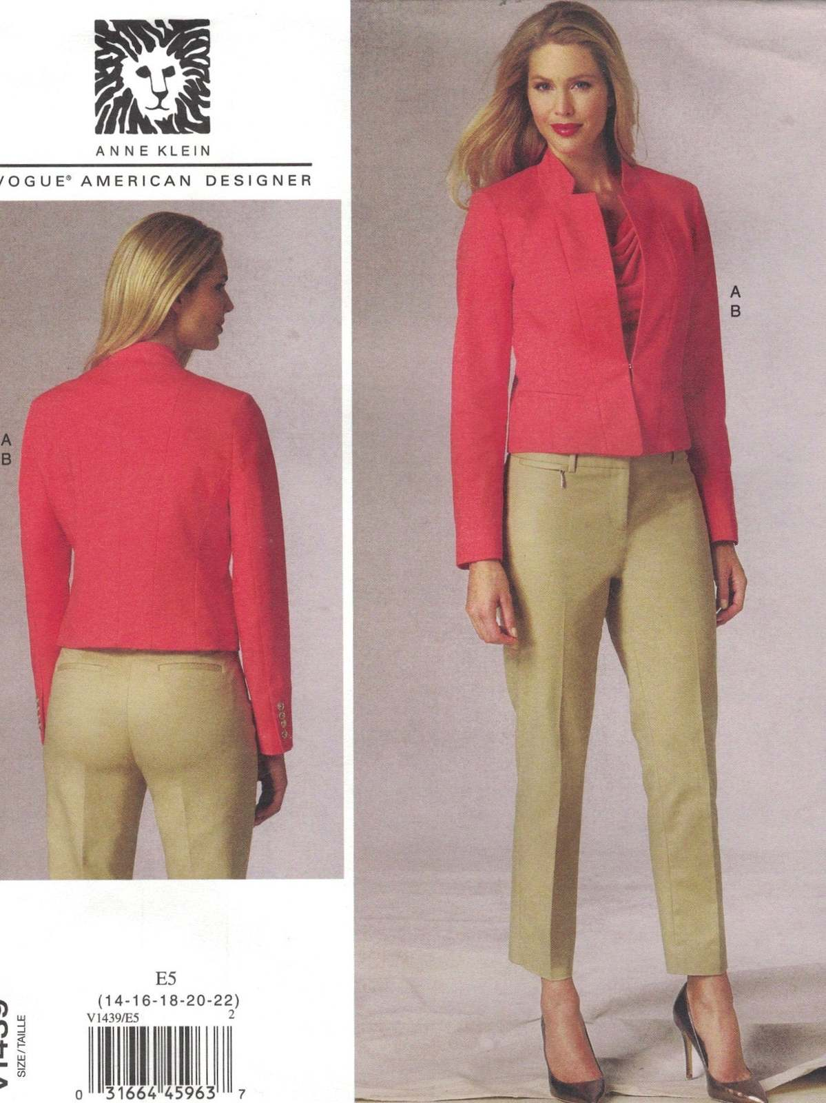 Primary image for Vogue 1439 Anne Klein Pattern Crop Jacket & Tapered Pants Choose Size Uncut
