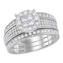 14k White Gold Princess Round Diamond Soleil Bridal Wedding Ring Set 1.00 Ctw - $1,879.00