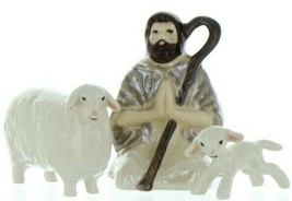 Hagen Renaker Specialty Nativity Shepherd Lamb & Sheep Ceramic Figurine Set image 1