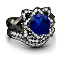 Blue Sapphire & Diamond Solid 925 Silver Black Gold Engagement Bridal Ring Set - $128.98
