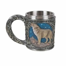 Pacific Giftware Celtic Wolf Resin Figurine Stainless Steel Inner Mug - £17.62 GBP