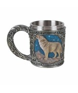 Pacific Giftware Celtic Wolf Resin Figurine Stainless Steel Inner Mug - $24.74
