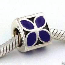 Auténtico Pandora 4-Petal Flor Esmalte Púrpura Cuenta Charm 790437en-02 ... - $36.90