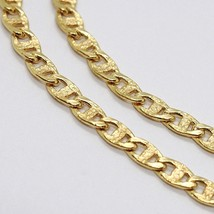 18K YELLOW GOLD CHAIN FLAT NAVY MARINER WORKED LINK 3.5 MM, 20 INCHES ITALY MADE image 2