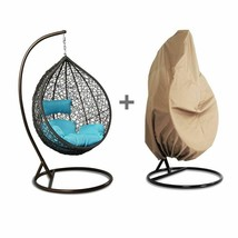 Outdoor Handmade Rattan Hanging Proch Wicker Swing Chair Free Cover Blue... - $566.16