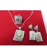 Vintage 70s Sterling Silver Filigree Set Necklace Pierced Earrings Ring ... - $247.45