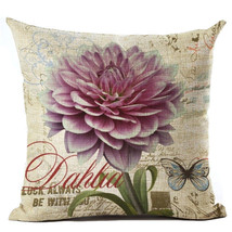 Home Deocrative Pillow Cover Cushion Cover Peony Flower Cotton Linen Pil... - $6.30