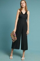 New Anthropologie Syros Ruffled Jumpsuit by Maeve $158 Size 4 BLACK  - $67.32