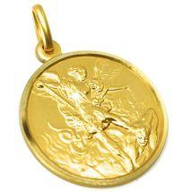 SOLID 18K YELLOW GOLD SAINT MICHAEL ARCHANGEL 25 MM MEDAL, PENDANT MADE IN ITALY image 3