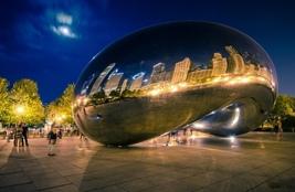"""Chicago Bean """"Sky Gate"""" Night    2.5 x 3.5  Fridge MAGNET - $3.99"""