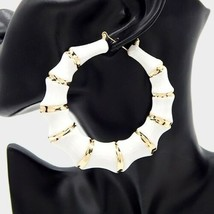 White & Gold Round Bamboo Textured Cute DoorKnocker 3.5 Inches Hoop Earr... - $20.79