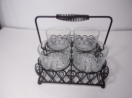 Glasses / cups Condiment Dish With Metal Tray S... - $24.95
